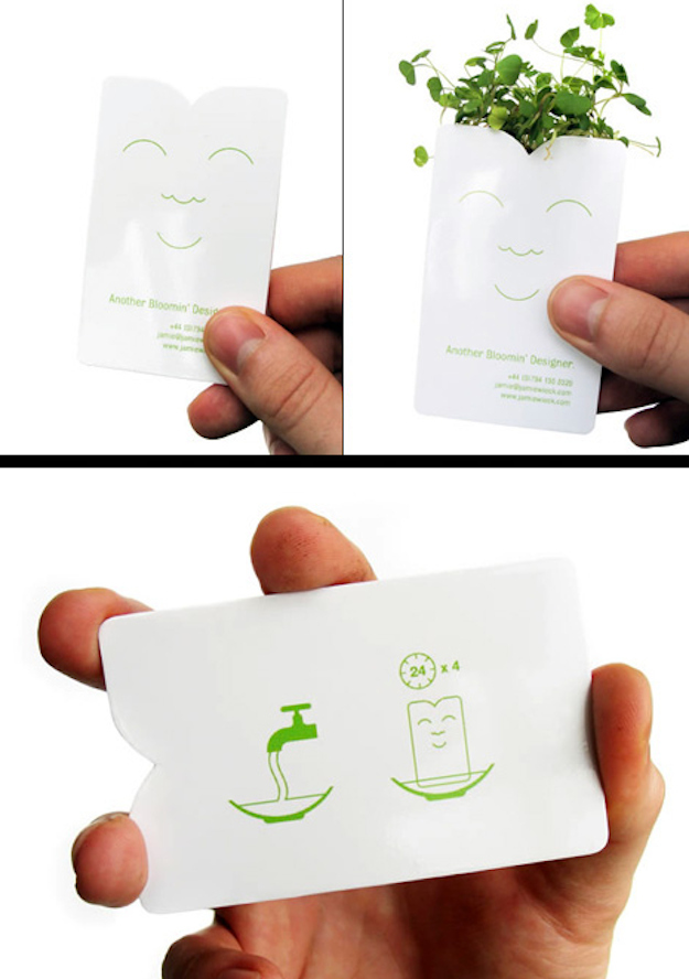 37 uniquefunny business cards articles thoughts from framework this card by another bloomin designer jamie wieck sprouts a mini plant after four days of soaking reheart Gallery